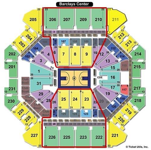 Brooklyn Nets - Barclays Center Mappa dei posti a sedere