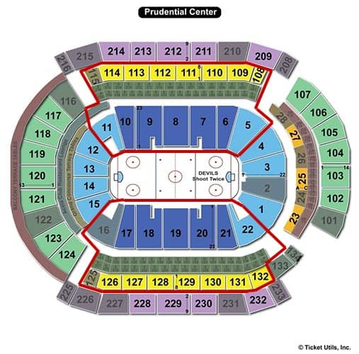 New Jersey Devils - Prudential Center Mappa dei posti a sedere