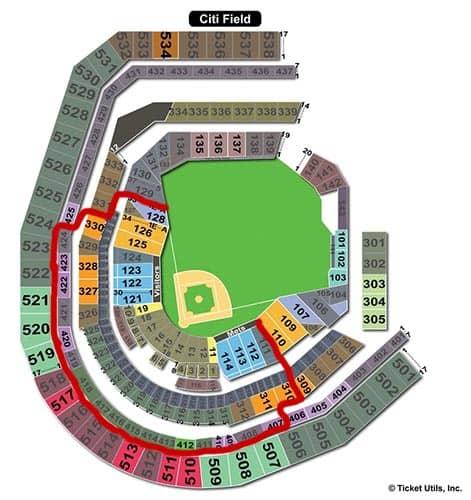 New York Mets - Mappa dei posti a sedere del Citi Field