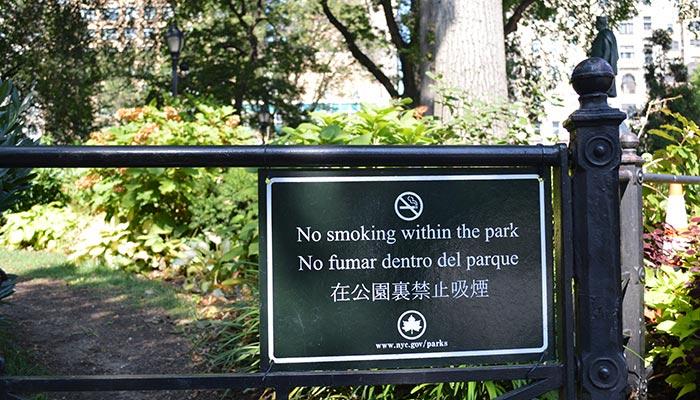 Fumare a NYC - Divieto di fumo nei parchi